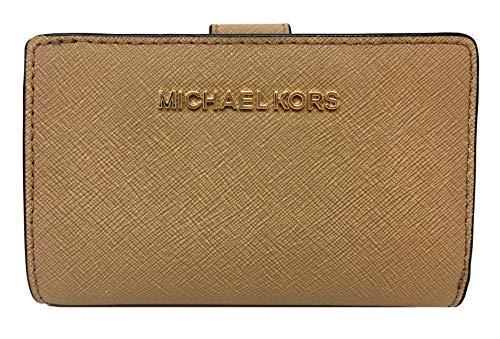 (Michael Kors Jet Set Travel Bifold Zip Coin Leather Wallet DK Khaki)
