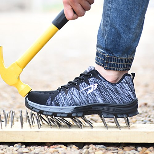 SUADEX Steel Toe Work Shoes Indestructible Shoes Men Women Lightweight Construction Composite Toe Shoes Light Grey 7.5 Women/6 Men