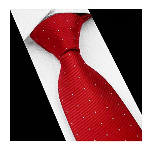 (Mens Bold Red Pin Finely Textured Woven Silk Work Dress Tie Fashion Fun Neckties)