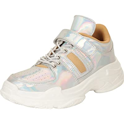 Cambridge Select Women's Retro 90s Ugly Dad Iridescent Holographic Chunky Platform Fashion Sneaker, 11 B(M) US, Hologram | Fashion Sneakers
