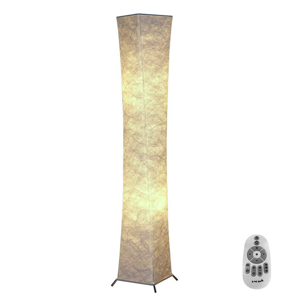 Soft Light Slim Floor Lamp with Remote Control, Fy-Light 52''RGB Color Changing LED Tyvek Fabric Shade Dimmable & 2 Smart LED Bulbs for Livingroom,Bedroom