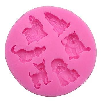 Molde de silicona para jabón hecho a mano, 2 unidades, para fondant de chocolate, modelado de perros: Amazon.es: Hogar