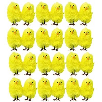 20 X mini peluche jaune POUSSINS œuf de Pâques Chasse bonnet décoration accessoires