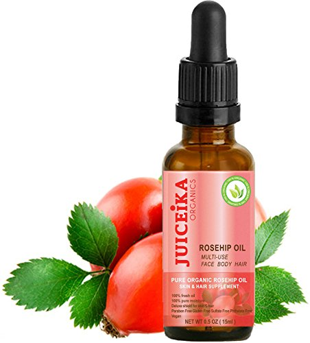 """ORGANIC ROSEHIP OIL 100% PURE & ULTRA LIGHT. CERTIFIED ORGANIC. 100% Pure Moisture. Deluxe Shield for Skin & Hair. The best ultimate skin & hair care with Vitamins A, E, and C, Omega 3, 6 & 9 -irreplaceable """"Oil Of Youth"""". 0.5 fl.0z -15ml. by Juiceika Organic"""