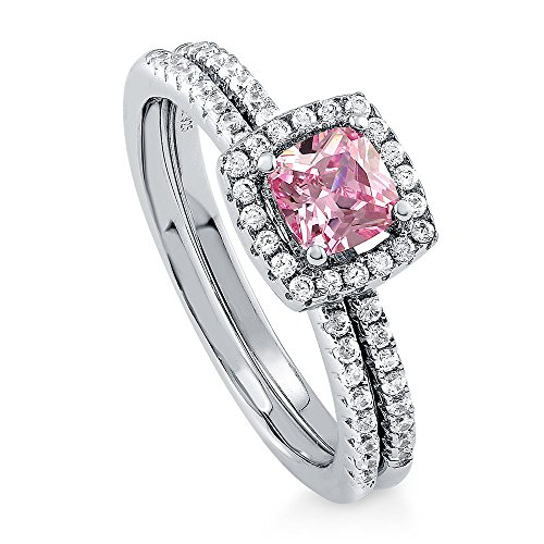Tw Pink Cushion Cut Ring - BERRICLE Rhodium Plated Sterling Silver Pink Cushion Cut Cubic Zirconia CZ Halo Engagement Wedding Ring Set 0.89 CTW Size 6