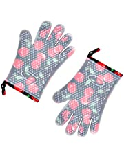 Oven Mitts Heat Resistant Baking Gloves with Soft Cotton Lining and Non-Slip Silicone,Waterproof, Washable,Cute Kitchen Microwave Gloves 1 Pair