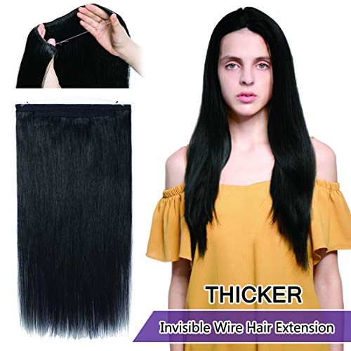 - Invisible Wire Hair Extensions Human Hair Hidden String Crown Hair Extensions No Clips in Secret Hairpieces with Miracle Transparent Fish Line For Women #01 Jet Black 16 inches 90g