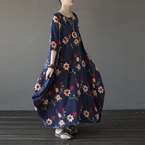 Nouveau Floral Bleu Robe De Taille Plus De Embropidery Des Femmes Aeneontrue