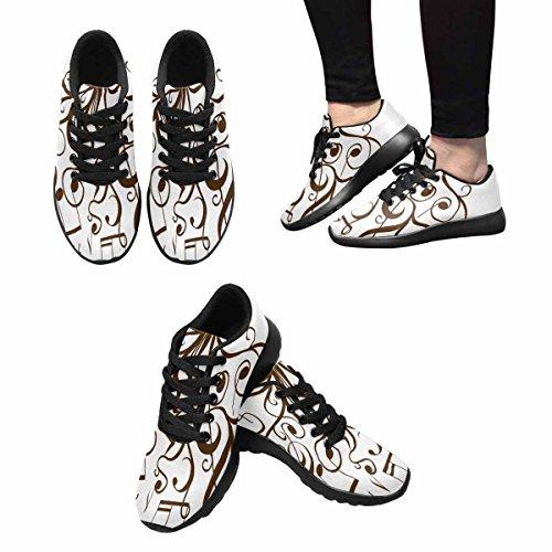 Interestprint Femmes Jogging Running Sneaker Léger Aller Facile Marche Confortable Chaussures De Course Arbre Avec Des Brindilles Bouclés Avec Des Notes De Musique Multi 1