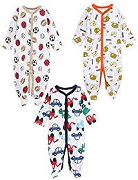 Baby Boys Footed Sleeper Pajamas-Toddler Infant Cotton Long Sleeved Romper
