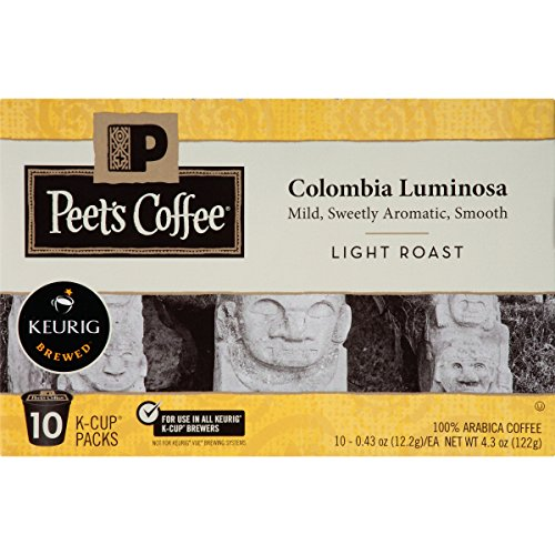 Peet's Coffee, Colombia Luminosa, Light Roast, K-Cup Pack (60 ct.), Single Cup Coffee Pods, Mild, Bright, & Smooth Light Roast Blend of Columbia & Ethiopian Coffees; for All Keurig K-Cup Brewers