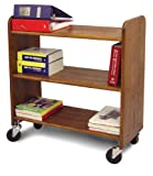 Catskill Craftsmen Library Book Truck with Flat Shelves, Walnut Stained Birch
