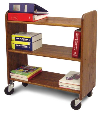 Catskill Craftsmen Library Book Truck with Flat Shelves, Walnut Stained Birch by Catskill Craftsmen