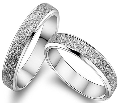 Psiroy 925 Sterling Silver Cubic Zirconia Matte Design Love Couples Promise Ring Wedding Band