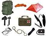 Ultimate Arms Gear Level 3 Assault MOLLE OD Green Backpack Kit; Signal Mirror, Polarshield Blanket, Knife Fire Starter, Wire Saw, Axe, 50' Foot Paracord, Camping Tube Tent, Whistle & First Aid Kit