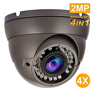 Analog Dome Camera 4-in-1 TVI/AHD/CVI/CVBS Security Dome CCTV Camera, 2.8mm-12mm Manual Zoom Focus Lens, True Day & Night Monitoring IP66 from Anpviz