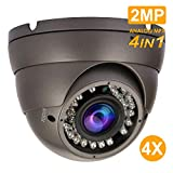 Analog Dome Camera 1080P 4-in-1 TVI/AHD/CVI/CVBS Security Dome CCTV Camera, 2.8mm-12mm Manual Zoom Focus Lens, True Day & Night Monitoring IP66 (2MP)