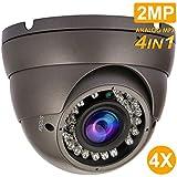 Analog Dome Camera 1080P 4-in-1 TVI/AHD/CVI/CVBS Security Dome CCTV Camera, 2.8mm-12mm Manual Zoom Focus Lens, True Day & Night Monitoring IP66 (2MP)