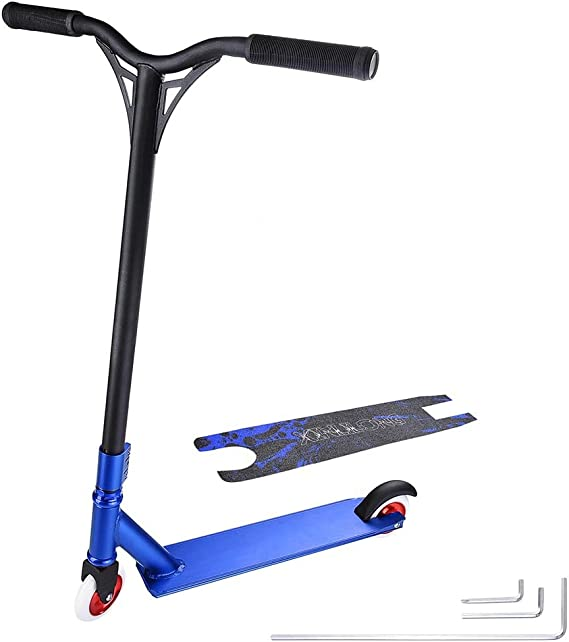 MeterMall Pro Stunt Scooter Freestyle Street Surfing Kick Scooter Trick Skatepark BMX Handlebars Professional Extreme Sports Scooter Blue
