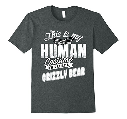 College Halloween Costumes Diy (Mens I'm Really a Grizzly Bear Halloween Costume Shirt Easy Funny XL Dark Heather)