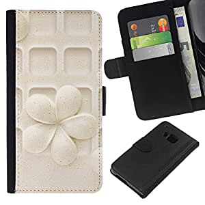 BearCase / Cuero de la tarjeta la carpeta del tirón Smartphone Slots Protección Holder /// HTC One M7 /// Modelo de flor en colores pastel Arte tallado