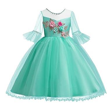 Kids Flower Girls Embroidered Bell Half Sleeve Short Dress Princess Wedding  Christening Birthday Party Prom Ball e0535ef5f2a1