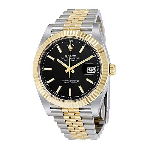 (Rolex Datejust 41 Black Dial Steel and 18K Yellow Gold Jubilee Mens Watch 126333BKSJ)