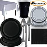 gray plastic ware - Disposable Party Supplies, Serves 40 - Black and Silver - Large and Small Paper Plates, 12 oz Plastic Cups, heavyweight Cutlery, Napkins, and Tablecloths. Full Two-Tone Tableware Set
