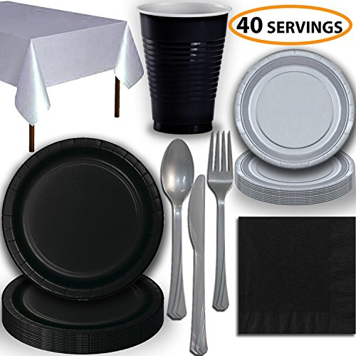 Disposable Party Supplies, Serves 40 - Black and Silver - Large and Small Paper Plates, 12 oz Plastic Cups, Heavyweight Cutlery, Napkins, and Tablecloths. Full Two-Tone Tableware Set -