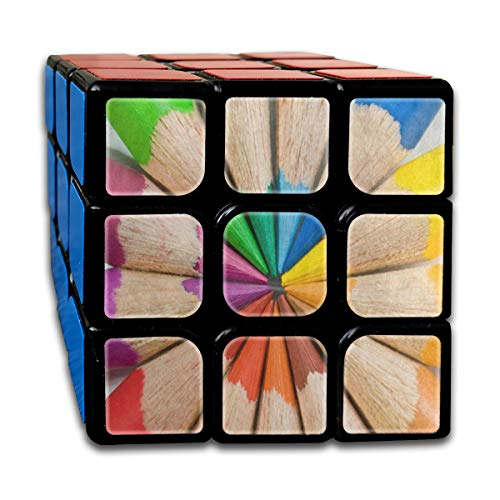 Colored Pencil Rainbow Color Amazing Speed Cube 3x3 Smooth Magic Square Puzzle Game Black]()