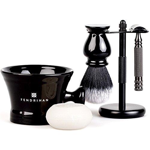 Fendrihan 5-Piece Black Shaving Set with Ambassador MK II Stainless Steel Safety Razor, Synthetic Brush, Metal Stand, Mug, and Shave Soap … (Sandalwood and Lavender, Knot: 24 MM) (Ambassador Metal)