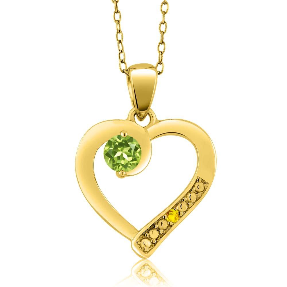 0.33 cttw Gem Stone King Green Peridot Yellow Sapphire 18K Yellow Gold Plated Silver Pendant