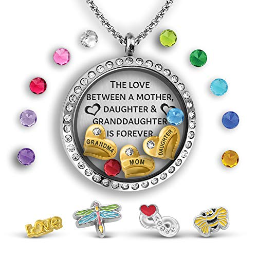 (Three Generations Necklace Love Between A Mother, Daughter And Granddaughter Is Forever Locket Necklace | Grandma Gifts | Mom Necklace and Daughter Necklace | Granddaughter Gifts Charm Locket Necklace)