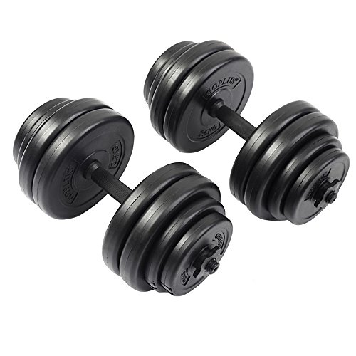 Weight Dumbbell Set 64 LB Adjustable Cap Gym Barbell Plates Body Workout Pump TKT-11