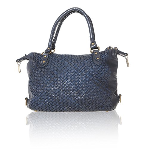 Vintage Chicca main Sac Made Cm Bleu in véritable en Line entrelacé Cuir à Femme 35x26x12 Borse Italy 5gTqrTWwnF
