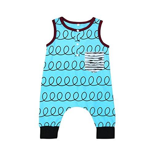Sharemen Newborn Baby Boys Girls Print Romper Summer Sleeveless Clothes Outfits (Blue, 0-6 Months)