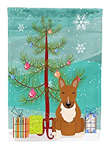 Caroline tesoros del bb4259chf feliz árbol de Navidad Bull Terrier rojo lienzo tamaño de la casa bandera, grande, Multicolor