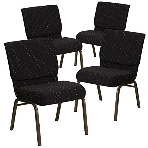 (Flash Furniture 4 Pk. HERCULES Series 21''W Stacking Church Chair in Black Dot Patterned Fabric - Gold Vein Frame)