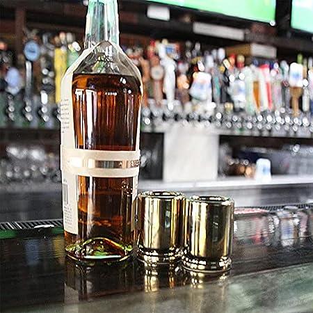 Vaso de chupito pequeño calibre Gourmet Bullet Glass Bar Atmosphere Acero inoxidable engrosado Copa de vino Copa de vino Set de 2 piezas