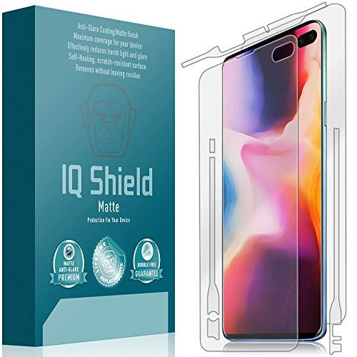 IQ Shield Matte Full Body Skin Compatible with Samsung Galaxy S10 Plus (S10+ 6.4 inch) + Anti-Glare (Full Coverage) Screen Protector and Anti-Bubble Film