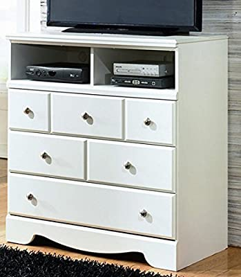 Ashley Furniture Signature Design - Weeki Media Chest - 3 Drawers and 2 Storage Cubbies - Contemporary - White