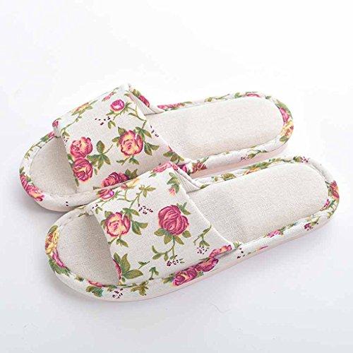 In Quattro Pantofole Cotone Stagioni Cute Antiscivolo Coreano Femminile Fondo MorbidocoloreBeigeDimensioni uk4 Casa Eu36 Estate Piatto Lino cn36Rosa sQdthrC