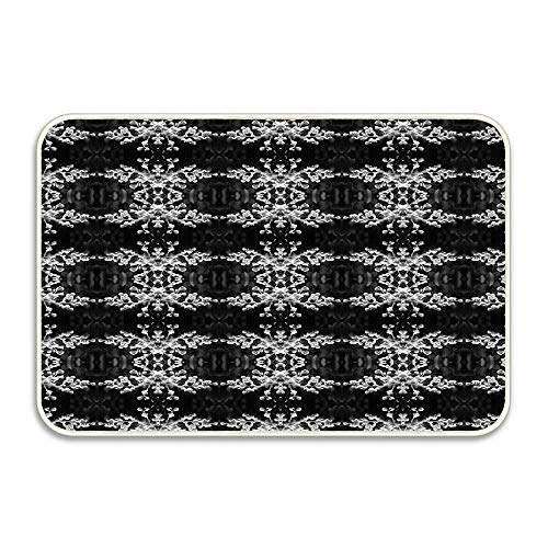 Huayuanhurug Welcome Front Door Mat, Outdoor Indoor Bedroom Kitchen Door Mat Rug, 16X24 Inches - Black and White Budding Crepe Myrtle Pattern