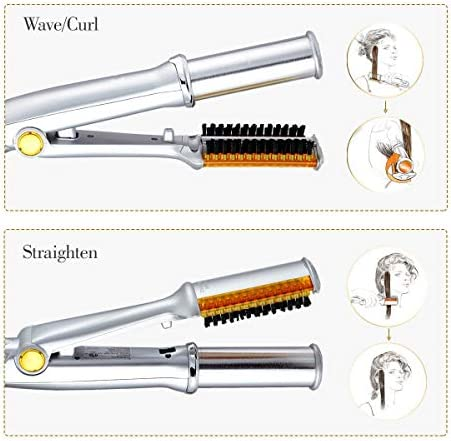 Curler Professional Hair Straightening Iron Curling Iron Straightener&curler 2 In 1 Multi Hair Styling Tool Flat Iron With Brush  vWt8d