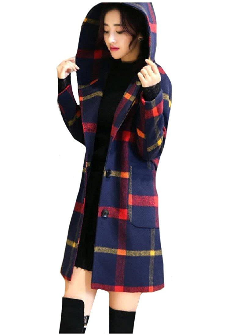 Coolred-Women Woolen Jacket Plaid Preppy Chic Mid-Long Style Pea Coat