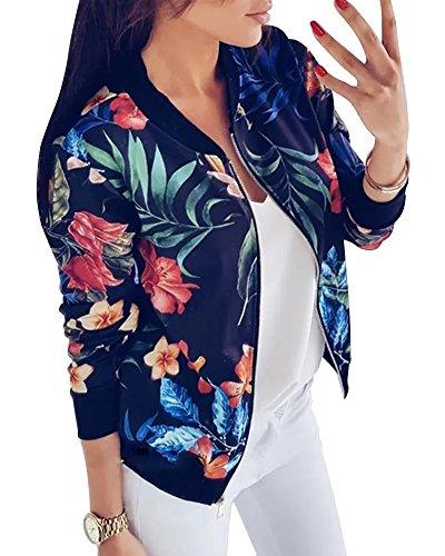 Casual Manteau Femme Chic Fleur Mode Minetom Imprim Veste OXpT8Wq1