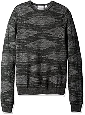 Calvin Klein Men's Merino Plaited Texture Crew Neck Sweater