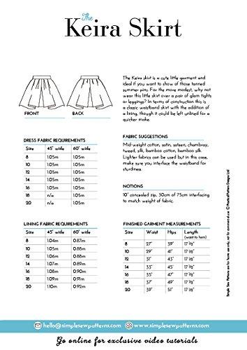 femmes en patineuse couture Jupe Tailles 8C20 dbutant de Pour Keira simples d'aventure Qute Sew Patron le adC1Fqw
