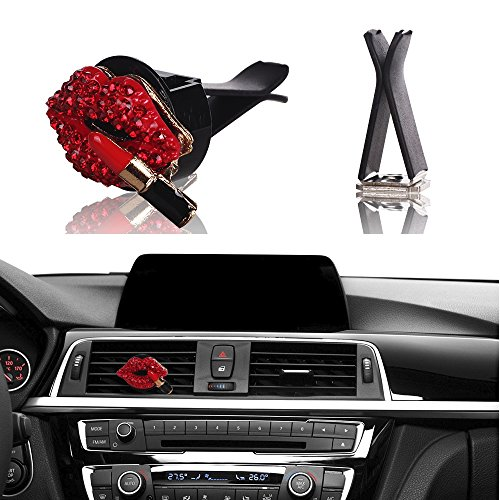 Bling Car Interior Decoration, Mini-Factory Car Air Vent Rhinestone Diamond Decoration - Red Lipstick - New Red Rhinestone