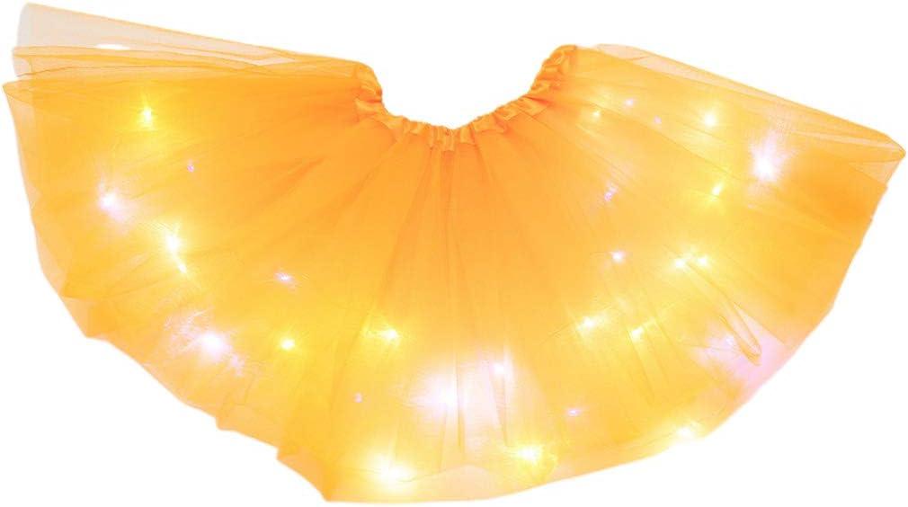 VOVOL Tut/ù da danza per donne e ragazze con LED neon e gonna a pieghe con luce a strati per danza Arancione. in tulle